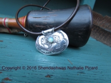 Bison fine silver medicine bag pendant with opal by Shendaehwas