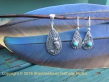 crane clan, fine silver pendant,