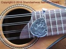 I love wolves, .999 find silver guitar pick shape pendant by Shendaehwas