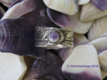 Sky dome ring.  iroquoian design with wampum shell by Shendaehwas